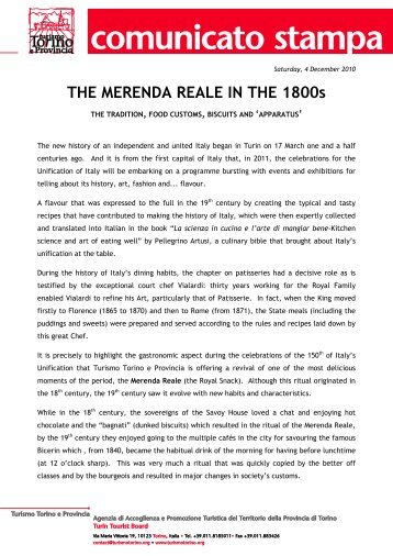 THE MERENDA REALE IN THE 1800s - Turismo Torino