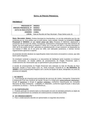EDITAL DE PREGÃO PRESENCIAL – MERENDA ESCOLAR