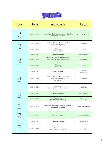 Dia Horas Actividade Local - Câmara Municipal de Vila do Bispo