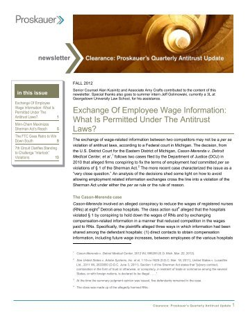 Quarterly Antitrust Update - Proskauer Rose LLP