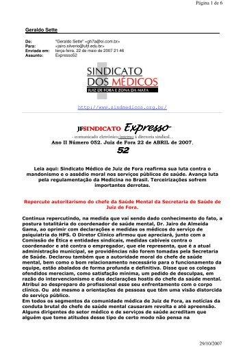Expresso Sindical nº 52 - Sindicato dos Médicos de Juiz de Fora e ...