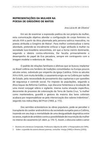 REPRESENTAÇÕES DA MULHER NA POESIA DE ... - TEL