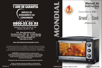 Manual Forno Grand Cook Premium FR-07 09-12 Rev 02 - Mondial