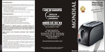 Manual Tostador Toast Premium T-03 - LojaTudo