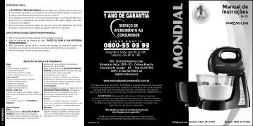 Manual Batedeiras Premium Mondial B-15 08-12 Rev 03