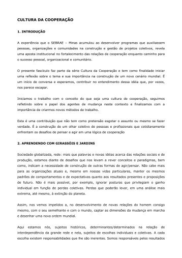 CULTURA DA COOPERAÇÃO - TSA Consultoria Brasil