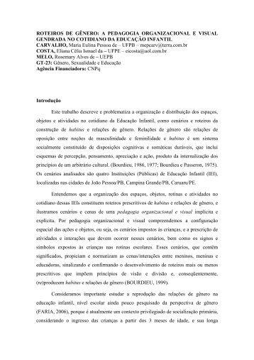 ROTEIROS DE GÊNERO: A PEDAGOGIA ... - ANPEd
