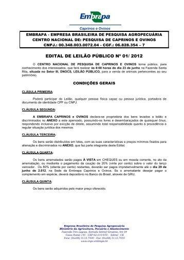 edital de leilão público nº 01/ 2012 - Embrapa Caprinos e Ovinos