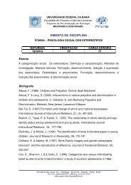 ementa de disciplina - PosPsi UFBA - Universidade Federal da Bahia
