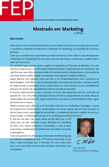 Mestrado em Marketing - FEP - Universidade do Porto