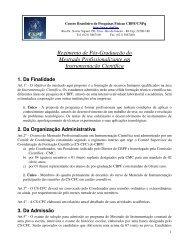 Regimento de Pós-Graduação do Mestrado Profissionalizante - CBPF