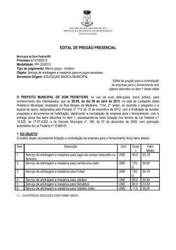 EDITAL DE PREGÃO PRESENCIAL - Logar no Portal