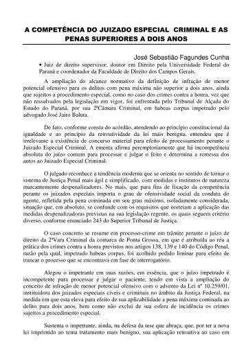 A COMPETÊNCIA DO JUIZADO ESPECIAL CRIMINAL E AS PENAS ...