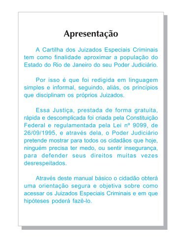 Cartilha dos Juizados Especiais Criminais - Tribunal de Justiça do ...