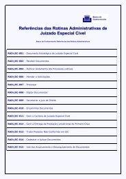 Referências das Rotinas Administrativas de Juizado Especial Cível