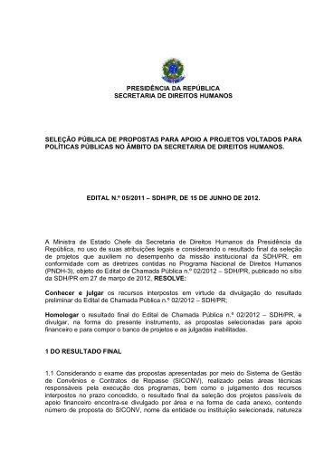 Resultado Final do Edital de Chamada Pública nº 05-2012