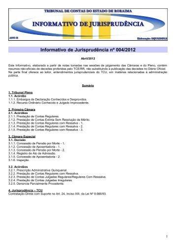 Informativo 004 Abr/2012 - Tribunal de Contas do Estado de Roraima