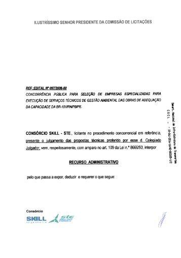 Recurso apresentado pelo Consórcio SKILL/STE - DNIT