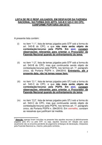 lista de re e resp julgados, em desfavor - PGFN - Procuradoria-Geral ...