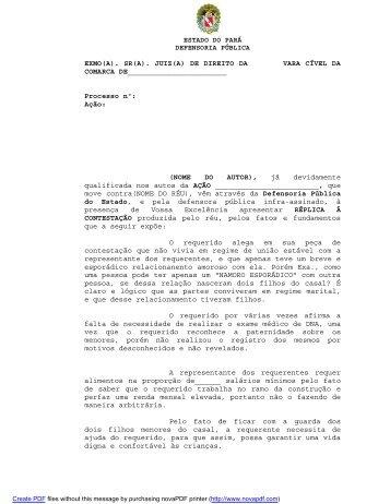 Réplica à contestação - Defensoria Pública do estado do Pará