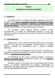 PARTE I SISTEMA DE CONTROLE INTERNO 1 - Controladoria ...