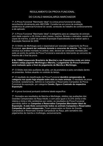 REGULAMENTO DA PROVA FUNCIONAL DO CAVALO - Abccmm