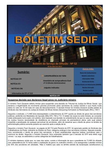 Acesse o inteiro teor do Boletim do Serviço de Difusão nº 52/2013