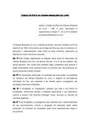 Institui o Código de Ética da Câmara Brasileira do Livro – CBL e ...
