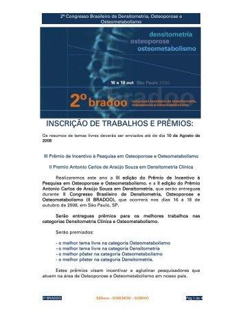 INSCRIÇÃO DE TRABALHOS E PRÊMIOS: - SBDens