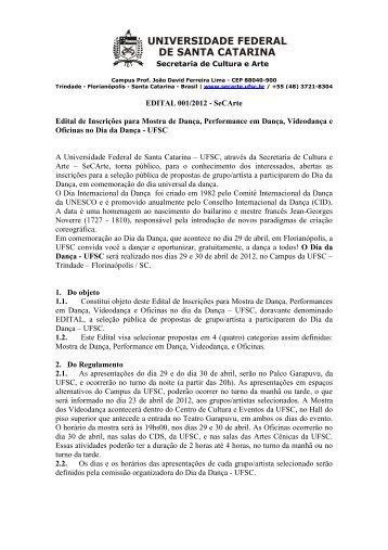 EDITAL 001/2012 - SeCArte Edital de Inscrições ... - SeCult - UFSC