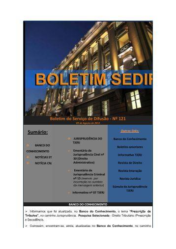 Boletim do Serviço de Difusão n° 121 - Tribunal de Justiça do ...