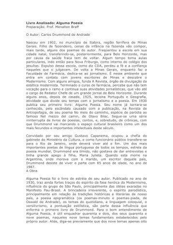 Livro Analisado: Alguma Poesia Preparação: Prof. Menalton Braff O ...