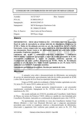 18727102ª - Secretaria de Estado de Fazenda de Minas Gerais