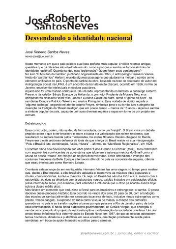 Desvendando a identidade nacional - Jose Roberto Santos Neves