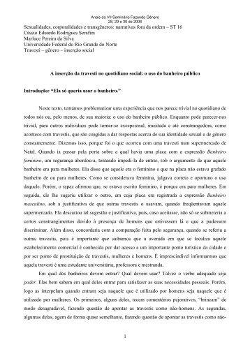 A inserção da travesti no quotidiano social - Seminário Internacional ...