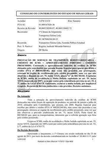 3878 - Secretaria de Estado de Fazenda de Minas Gerais