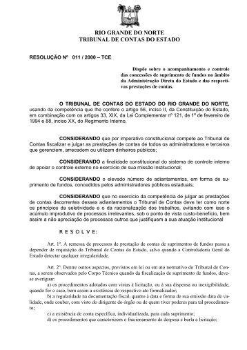 Resolução Nº 011/2000 - TCE / RN