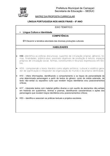 LÍNGUA PORTUGUESA ENSINO FUNDAMENTAL II – 6º ANO - Seduc