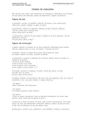 FIGURAS DE LINGUAGEM Figuras de som - Instituto Consciência GO