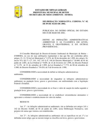 ESTADO DE MINAS GERAIS - Prefeitura Municipal de Betim