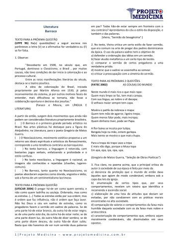 Literatura Barroco - Projeto Medicina