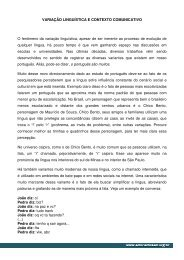 VARIAÇÃO LINGUÍSTICA E CONTEXTO COMUNICATIVO O ...