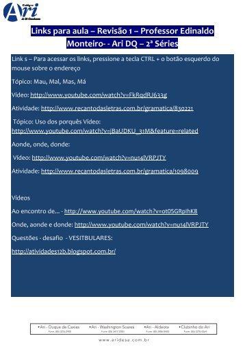 Links para aula – Revisão 1 – Professor Edinaldo Monteiro- - Ari DQ ...