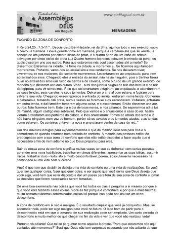 FUGINDO DA ZONA DE CONFORTO II Re 6:24,25 ; 7:3-11 ...