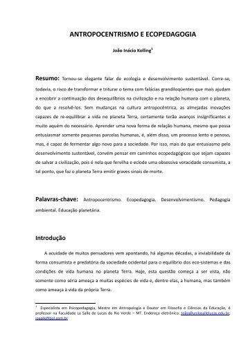 ANTROPOCENTRISMO E ECOPEDAGOGIA - La Salle