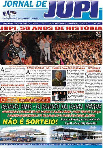 JUPI, 50 ANOS DE HISTÓRIA - Prefeitura Municipal de Jupi
