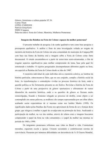 Gênero, feminismo e cultura popular ST.56 Carmo Thum UFPEL ...