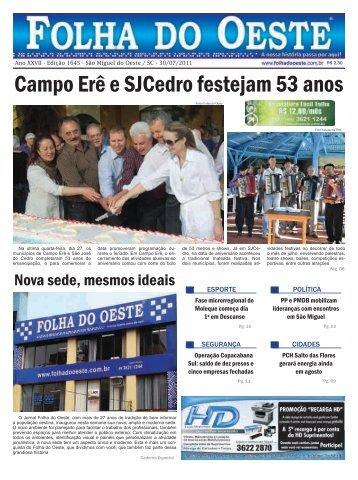 Campo Erê e SJCedro festejam 53 anos - Adjori/SC