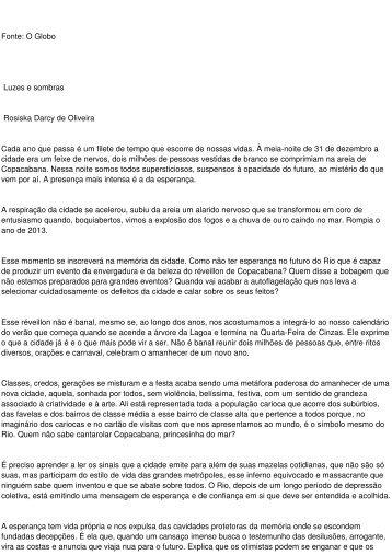 Fonte: O Globo Luzes e sombras Rosiska Darcy de Oliveira ... - aarffsa