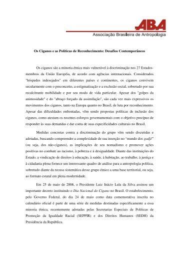 Os Ciganos e as Políticas de Reconhecimento: Desafios ... - ABA
